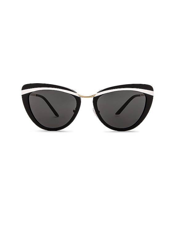 Acetate Cat Eye Sunglasses in Black & White
