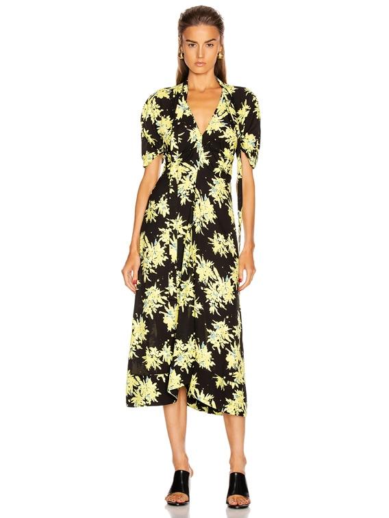 Splatter Floral Tie Dress in Yellow & Black