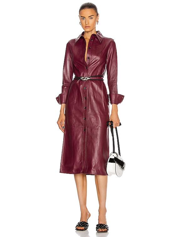 Leather Shirt Dress in Bordeaux