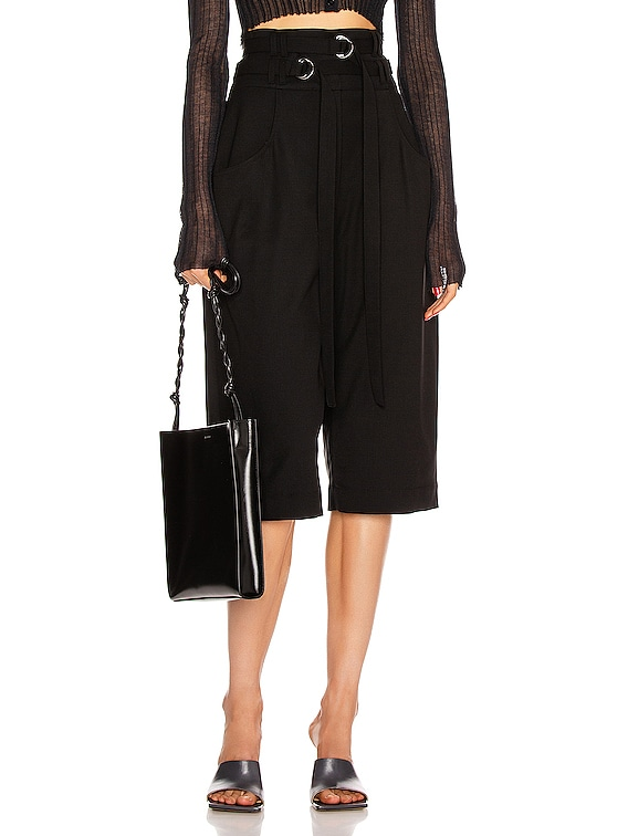 Wool Culotte Pant in Black