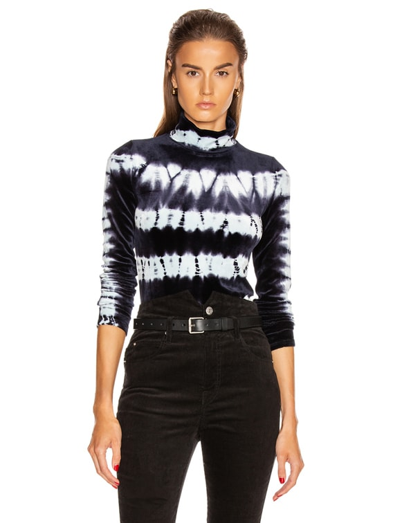 Tie Dye Turtleneck Top in Indigo & Baby Blue