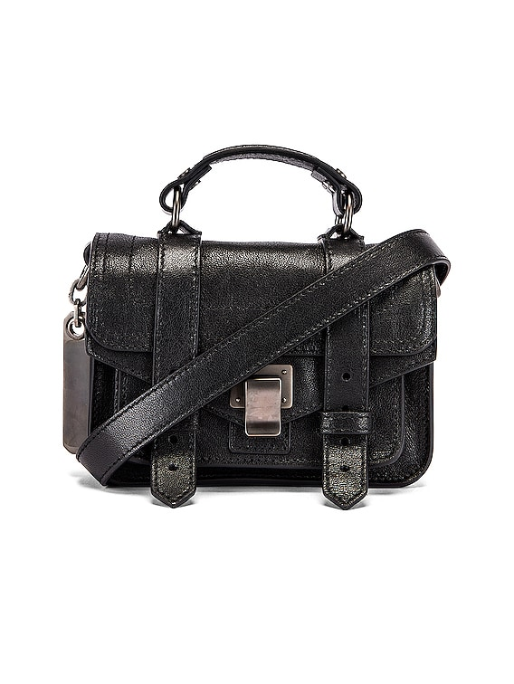 Micro PS1 Leather Bag in Black