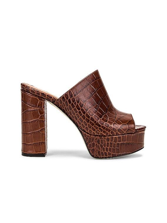 Moc Croco Platform Mule in Brown