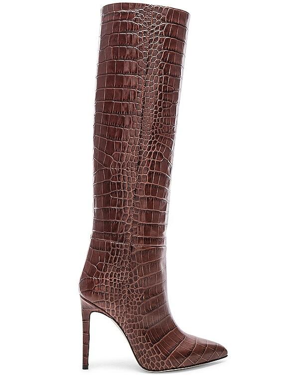 Stiletto Knee High Boot in Brown Croc