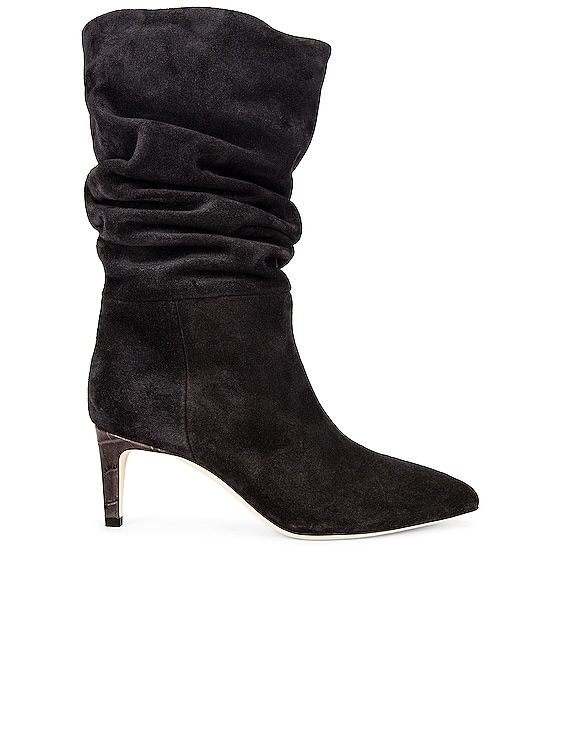Velour Slouchy Boot in Black