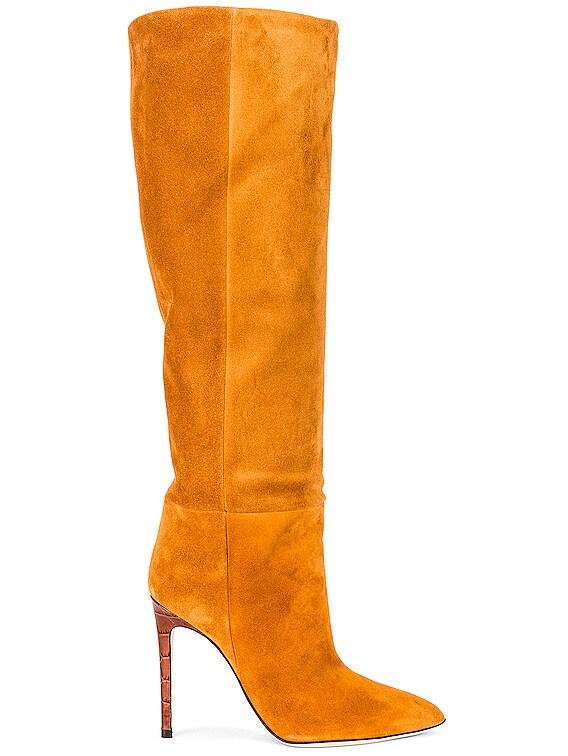 Velour Tall Stiletto Boot in Cognac