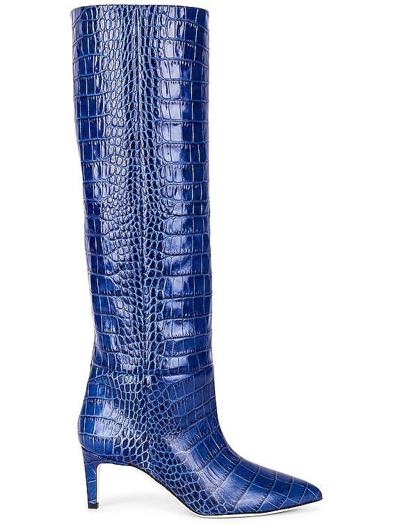 Moc Croco 60 Tall Stiletto Boot in Bluette