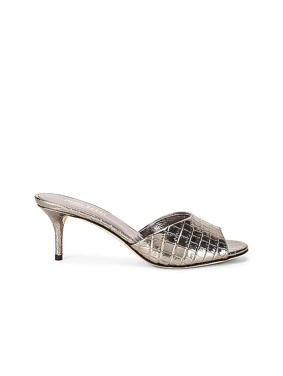 Metallic Croco 60 Stiletto Mule in Dark Silver