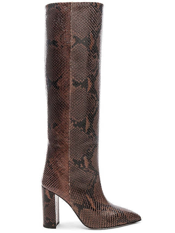 Knee High Python Print Boot in Dark Brown