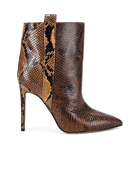 Snake Print Ankle Boot in Brown & Camel