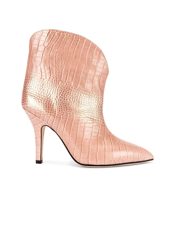 Iridescent Moc Croco Rounded Stiletto Ankle Boot in Pink