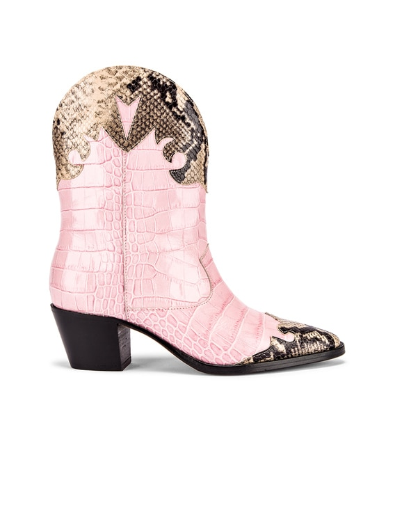 Python Print and Moc Croco Texano Boot in Light Pink & Natural