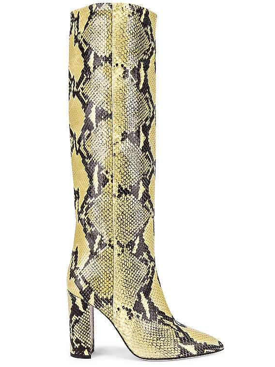 Knee High Python Print Boot in Chartreuse