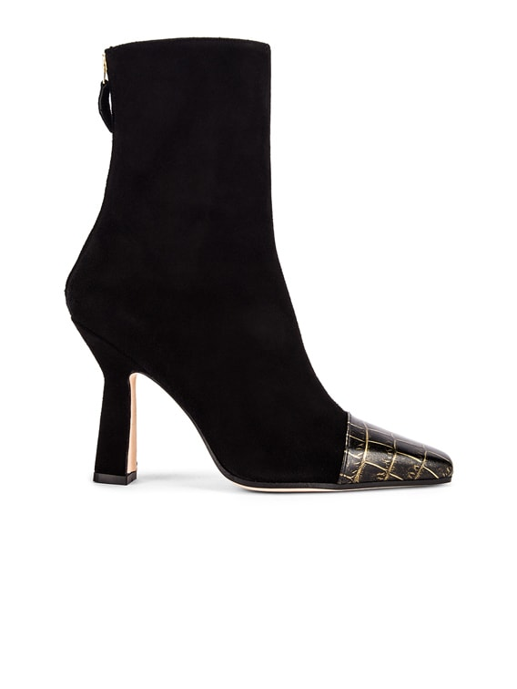 Suede and Croco Square Toe Ankle Boot in Black