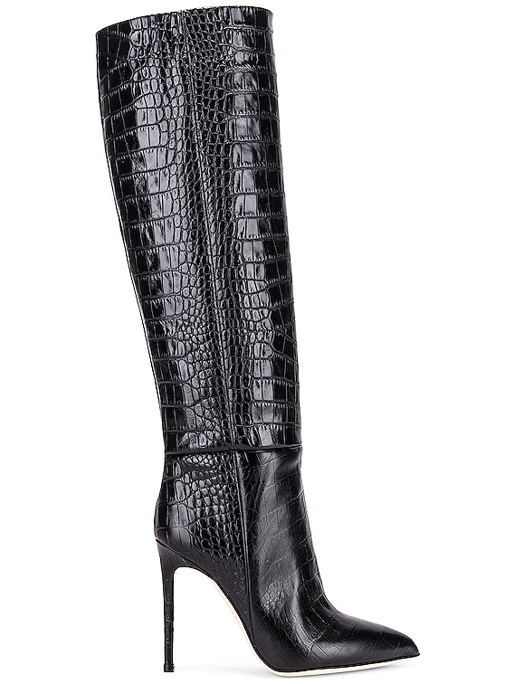 Moc Croco Tall Stiletto Boot in Black