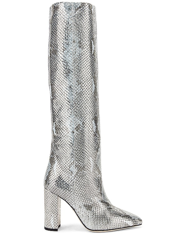 Python Lame Print Boot in Light Blue
