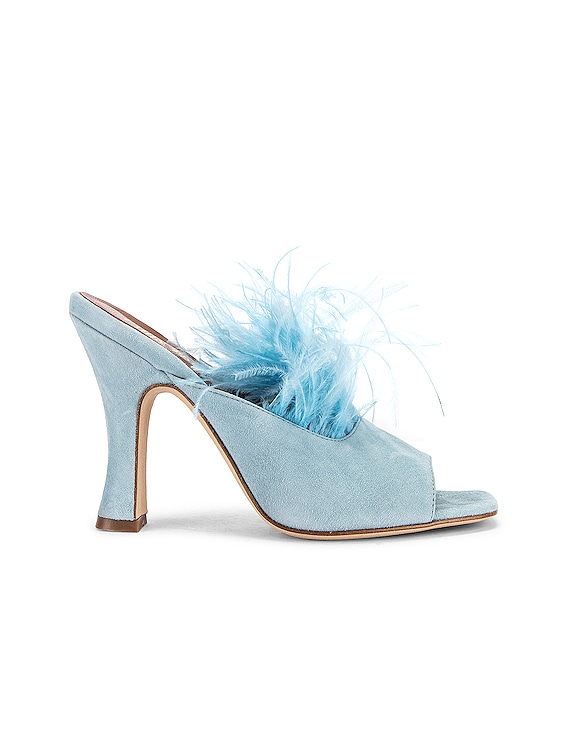 Suede Square Toe Mule with Marabou Feathers in Light Blue