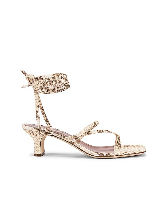 Faded Python Print Wrap Sandal in Faded Natural