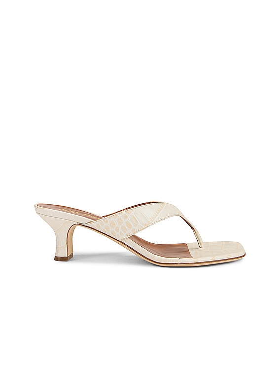 Soft Moc Croco 45 Thong Sandal in Ivory