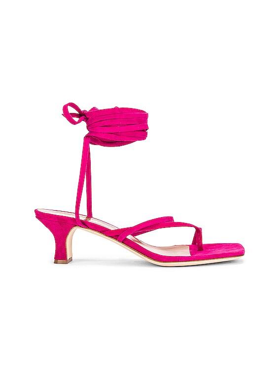 Suede Wrap Sandal in Fuchsia