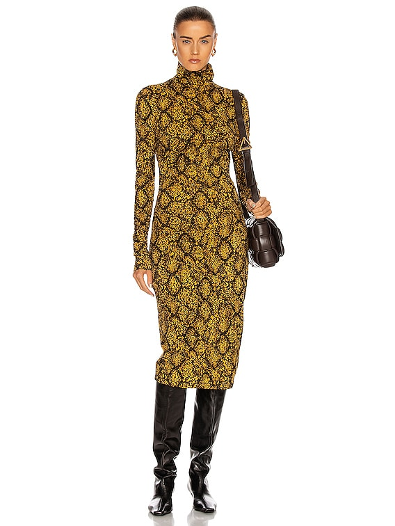 Jersey Turtleneck Dress in Gold & Black Snake