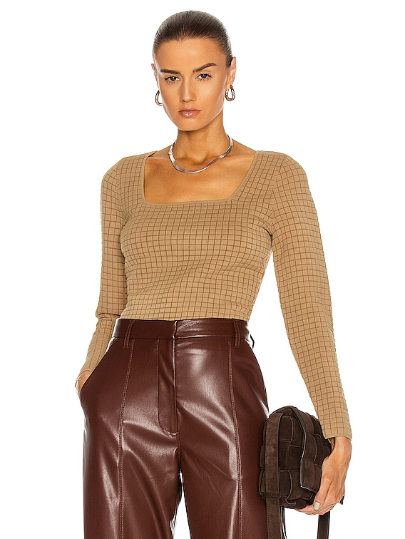 Quilted Square Neck Long Sleeve Top in Cider