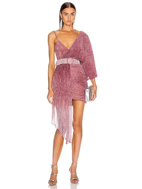 Ombre Lurex Asymmetric Belted Mini Dress in Light Orchid
