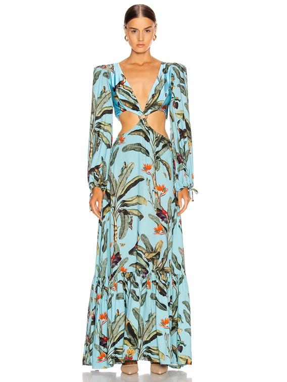 Tropical Print Cutout Maxi Dress in Cerulean