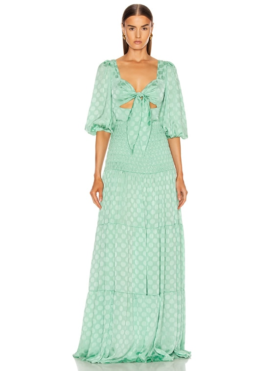 Satin Dot Ruched Maxi Dress in Aqua