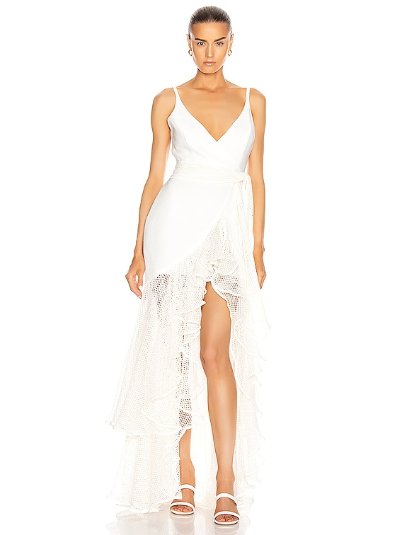 Mesh Trim Linen Maxi Dress in White