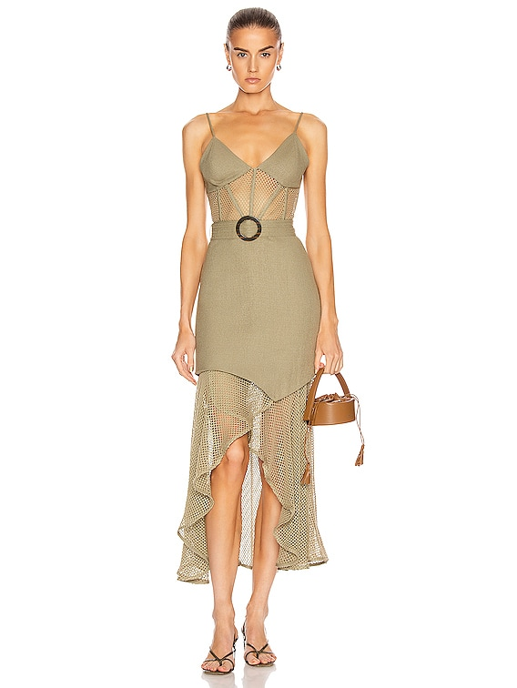 Mesh Linen Bustier Dress in Vintage Khaki