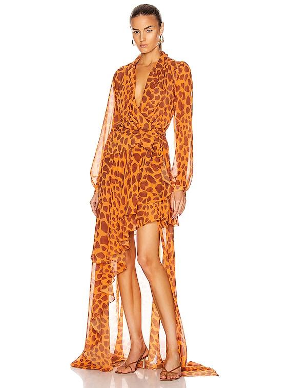 Margot Hi Low Maxi Wrap Dress in Bright Orange