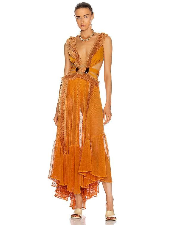 Netted Fringe Beach Dress in Sunflower