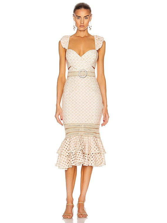 Eyelet Belted Midi Dress in Sand