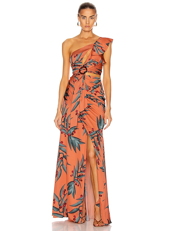Heliconia One Shoulder Maxi Dress in Heliconia Coral