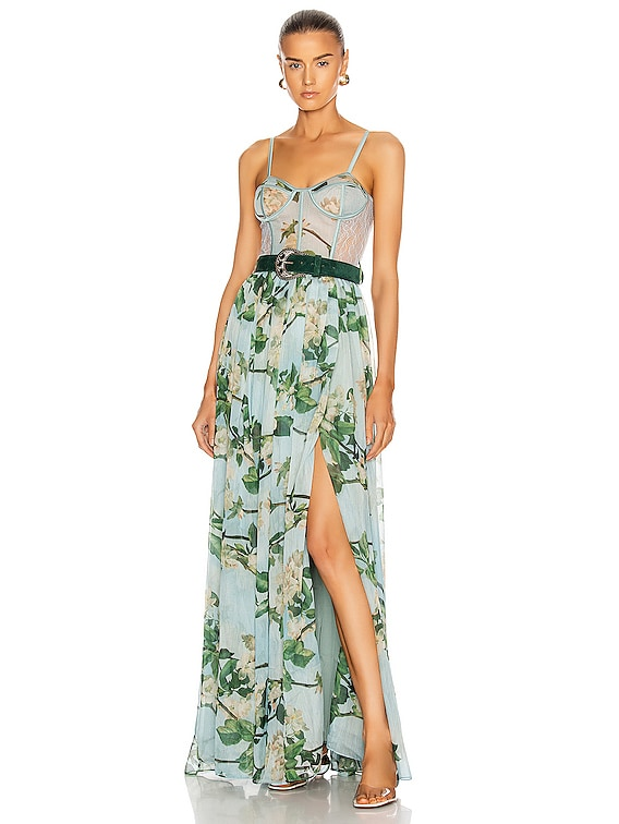 Floral Bustier Belted Maxi Dress in Sky