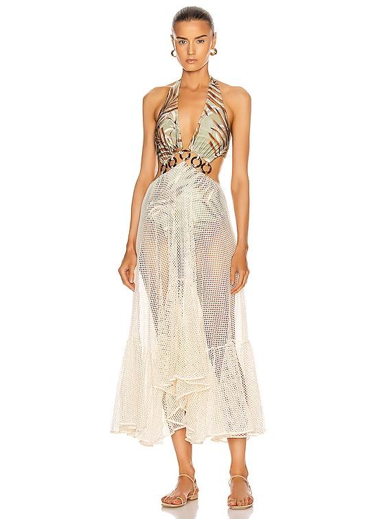 Palmeira Netted Beach Dress in Sage