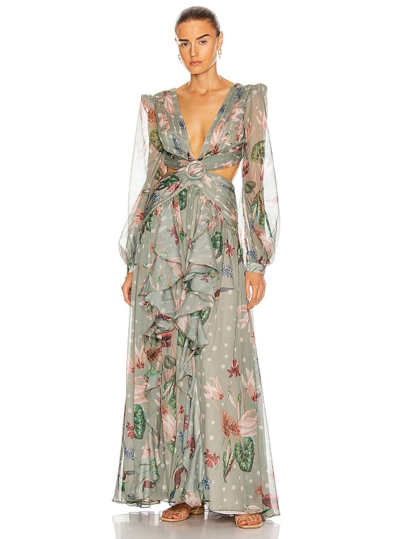 Sophia Cut-Out Maxi Dress in Moss