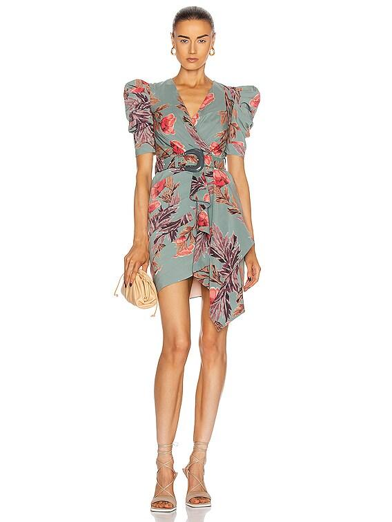 Floral Belted Drape Mini Dress in Dusty Blue