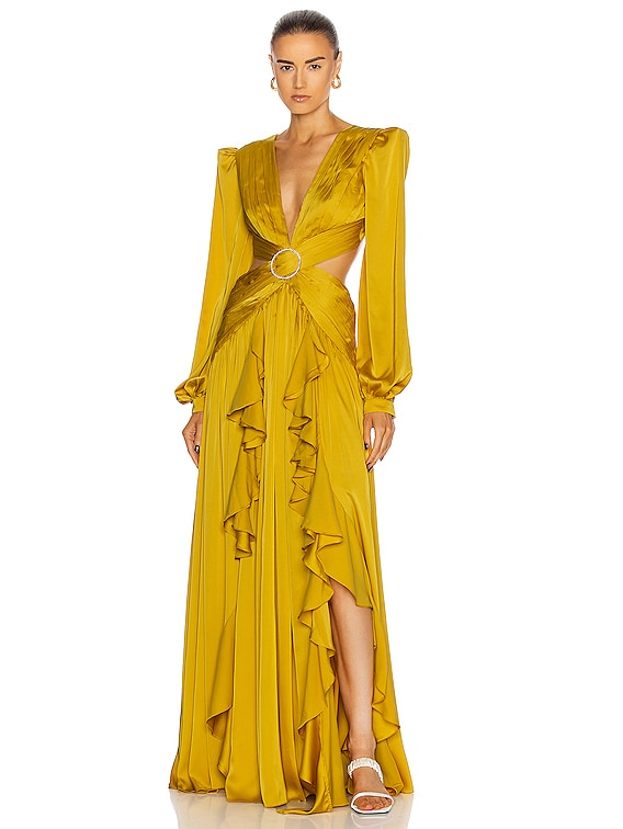 Cutout Gown With Embellished Buckle Dress in Chartreuse