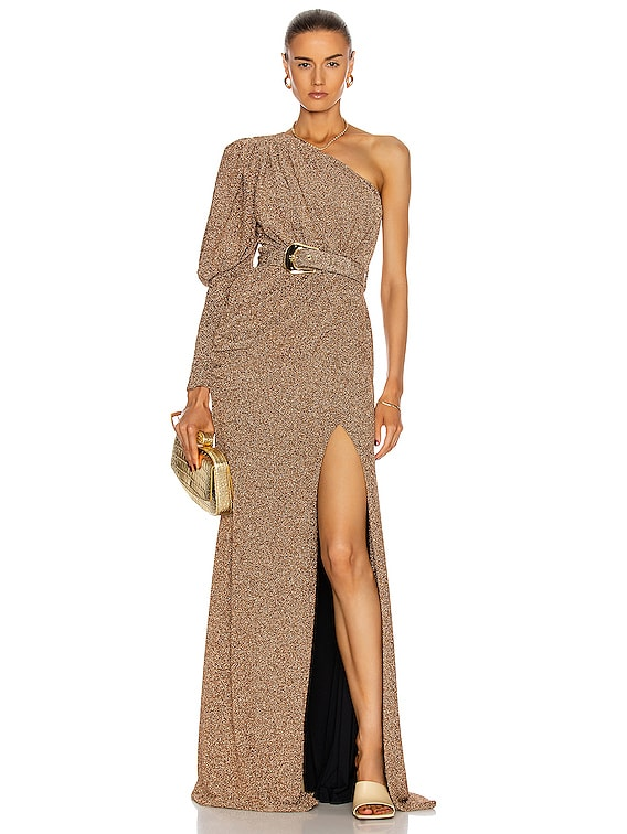 Lurex One Shoulder Maxi Dress in Gold