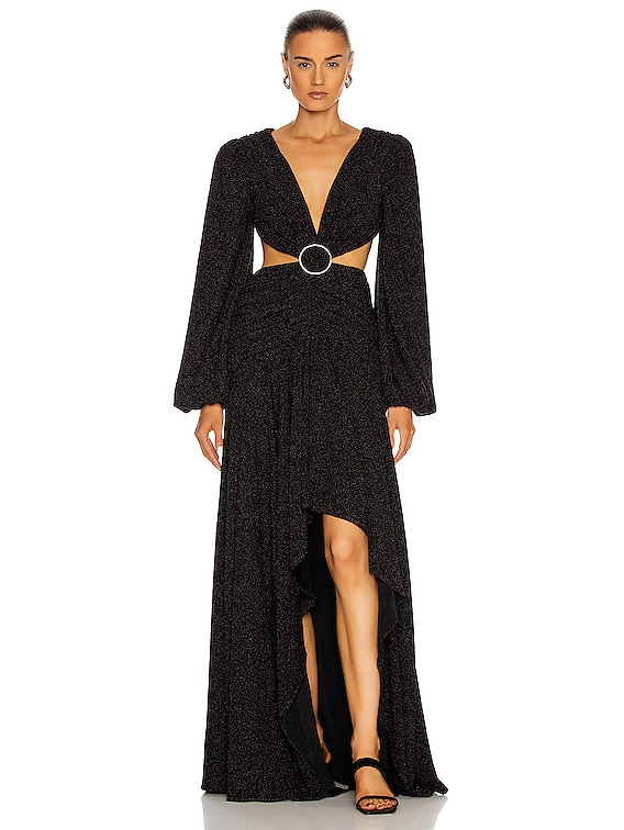 Lurex Cut-Out Gown in Black