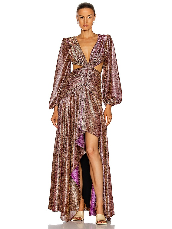 Metallic Cut-Out Gown in Pink