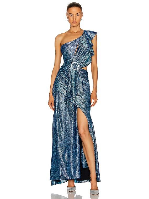 Metallic One Shoulder Maxi Dress in Blue