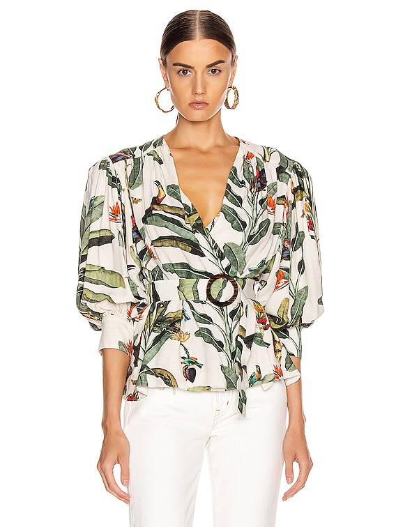 Tropical Print Belted Top in Off-White