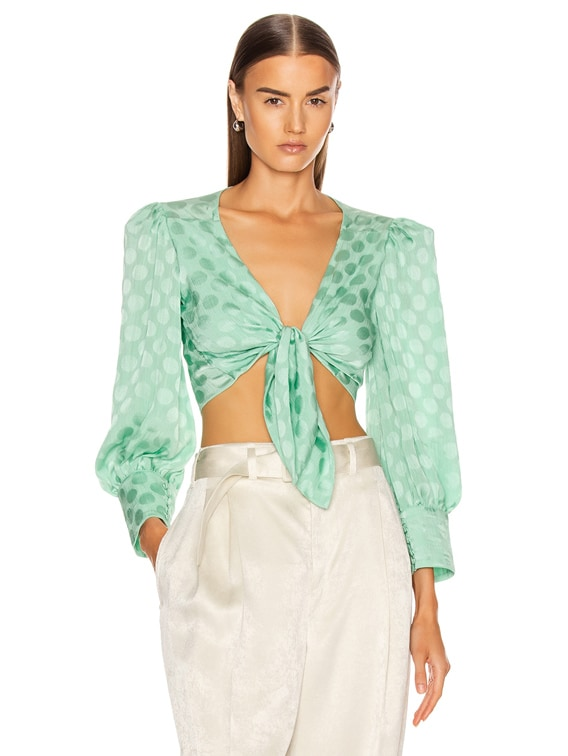Satin Dot Tie Front Cropped Top in Aqua