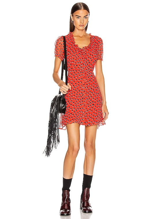 Front Button Up Babydoll Dress in Red & Black Heart