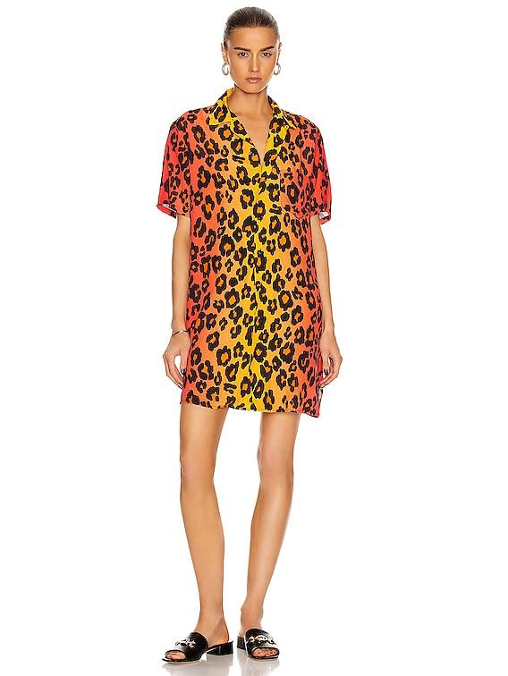 Skater Shirt Dress in Ombre Leopard