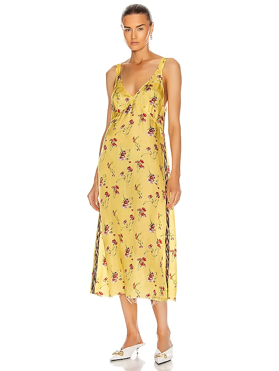 Long Slip With Side Stripe in Yellow Floral
