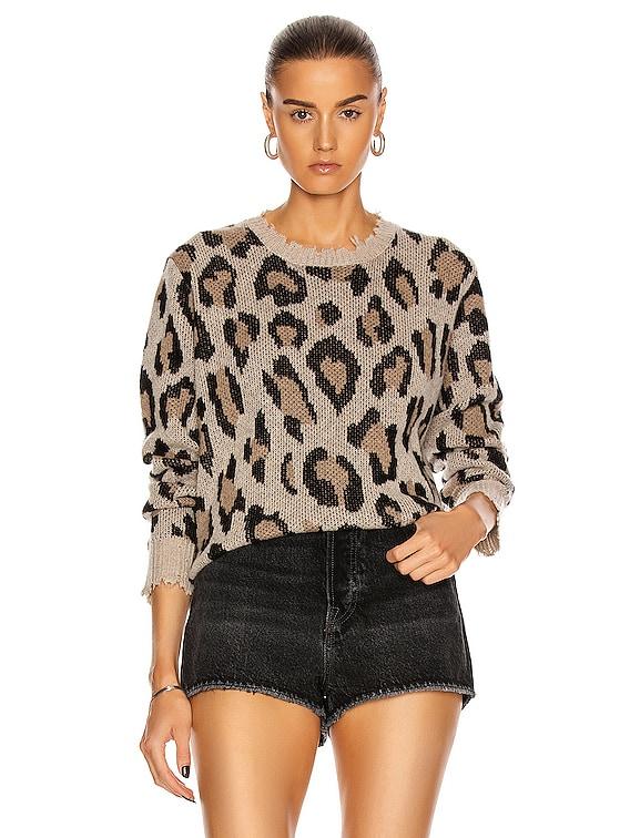 Leopard Cashmere Crewneck Sweater in Leopard